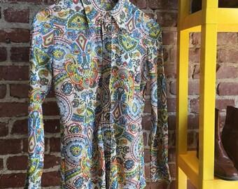 Vintage Seventies 1970s Psychedelic Shirt. Men's Small, Women's Medium