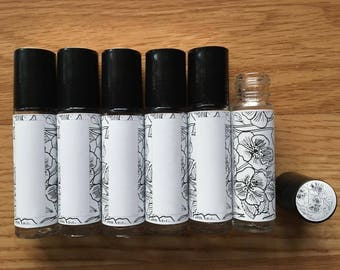 10ml Essential Oil Rollerball Labels | B&W Floral