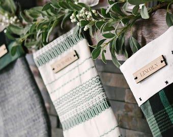 Custom Wood Engraved Stocking Tags