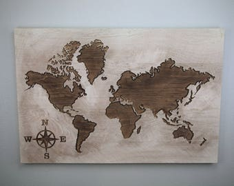 Large world map etsy world map sign rustic world map carved world map wooden sign large gumiabroncs Gallery