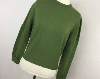 Vintage Carson Pirie Scott Cashmere Sweater S Small Green Crew Neck Classic Women's Long Sleeve V7