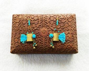 Earrings hand made Bohemia Bohemian Tribal ethnic Gypsy Turquoise Jewelry designer ∴ ∴ ∴ EMAJARA ∴ ∴ ∴