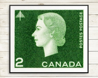 P062 Queen Elizabeth, Queen Elizabeth 2, Queen Canada, Queen portrait, Forest art, Natural resources Canada, Queen Stamp, Postage Stamp Art