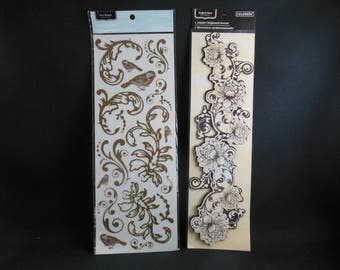 Gold Filigree Rub-on and Black and Cream Filigree 3D Chipboard Accent from ColorBok
