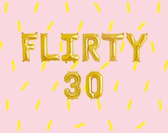 "FLIRTY 30 Letter Balloons | 16"" Gold Letter Balloons 
