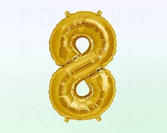 Metallic Gold Number 8 Balloon | Gold 8 Birthday Balloon | Gold Number 8 Balloon | Jumbo Number 8 Balloon