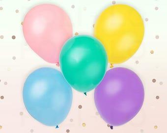 "PASTEL BALLOONS | Unicorn Theme Balloons | Rainbow Color Theme Party | 11"" Latex Balloon Set | Set of 5"
