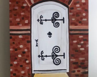 Hudson Ohio, Clock Tower, Downtown, Landmark, Door Painting, Front Door, Door Art, Brick, Acrylic Painting, 11x14 Painting on Wood Panel