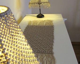 A set of handmade macrame lamp shade and runner