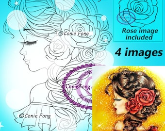 Digital Stamp, Digi Stamp, digistamp, Bella Rose by Conie Fong, Coloring Page, birthday, girl, flower, rose, braids