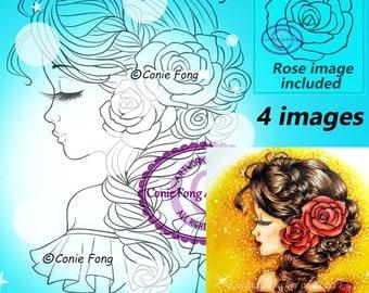 Digital Stamp, Digi Stamp, digistamp, Bella Rose by Conie Fong, Coloring Page, birthday, girl, flower, rose, braids