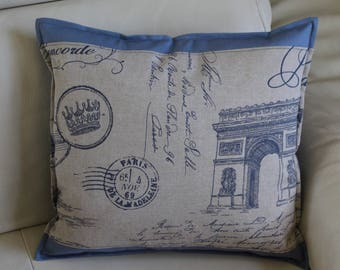 PARIS ARC DE TRIOMPHE cushion in beige and blue on the back. Sold individually
