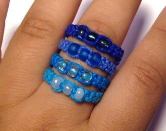 Blue beaded hemp rings, macrame ring, stacking ring, unisex ring, loop ring, boho ring, braided ring, Macrame jewelry, Hemp jewelry