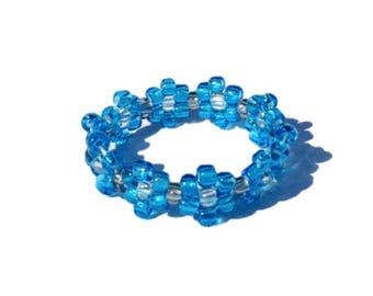 Blue bead flower ring, bead ring, flower bead ring, seed bead ring, blue ring, flower rings, handmade ring, beaded ring, beaded ring