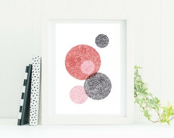 Rubine - Red, Pink and Black Dotwork Print
