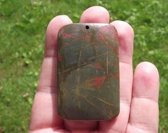 PICASSO JASPER 1 PEARL PENDANT. OBLONG RECTANGLE. 52 X 33 X 7 MM.