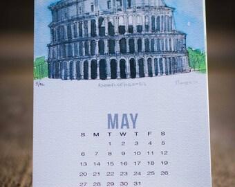 2018 world calendar, travel calendar, calendar, watercolor art, painting, watercolor calendar, world icons, desk calendar, home, office