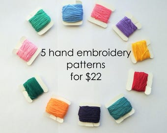 Hand embroidery patterns: Any 5 hand ebmroidery patterns for 22 dollars. Modern hand embroidery. Free hand embroidery guide.