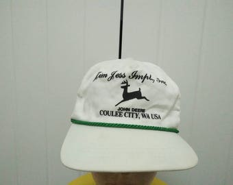 Rare Vintage JOHN DEERE Coulee City , Spell Out Cap Hat Free size fit all Made in USA