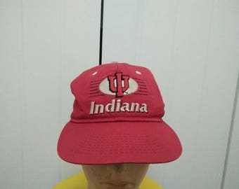 Rare Vintage INDIANA HOOSIERS Embroidered Cap Hat Free size fit all Made in USA