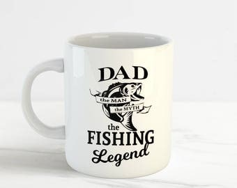 Dad The Fishing Legend Mug Cup, Perfect Father's Birthday Gift