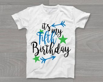 It's My Fifth Birthday Boys Kids T-Shirt, Childrens Toddlers T Shirt Top.