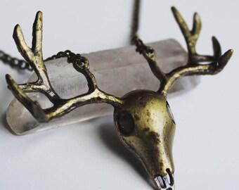 Reclaimed Deer Skull Necklace, Deer Necklace, Eco Friendly Necklace, Metal Necklace