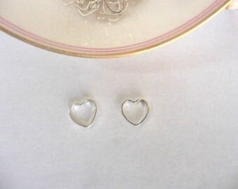 Set of 10 hearts hollowed out in silver - 10 * 10 mm