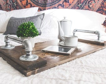 The Ana Serving Tray, IN STOCK Industrial Farmhouse Pipe Handle and Pine Tray