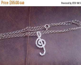 ON SALE Vintage Sterling Silver Necklace with Silver and Clear Stone Musical Note Pendant