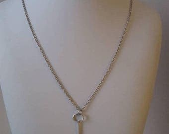 ON SALE Vintage Sterling Silver Necklace with Silver Key Pendant