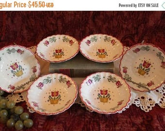 "SALE Set of 6 American Limoges 5.5"" Fruit or Dessert Bowls - Old Dutch Tulip Pattern, Folk Art Motif"