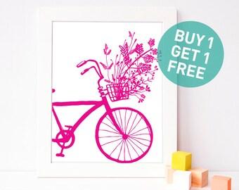 bicycle printable - bring pink nursery decor - 8x10 bike print - instant download wall art - bicycle wall art - girl nursery digital poster