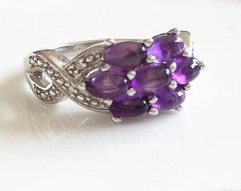 Beautiful Amethyst Silver Cluster Ring, Vintage Amethyst Ring, Cluster Ring, Sterling Silver Ring, Statement Ring, Engagement Ring, Size R.
