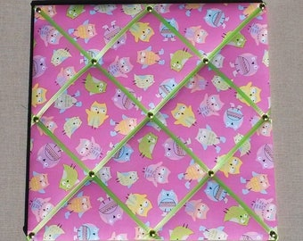 Peel blends with owls fabric, pink and green ribbons