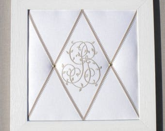 Peeling mixes Monogram ribbons, framed