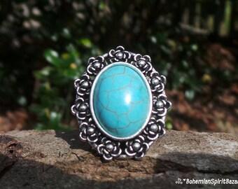 Turquoise RING, Adjustable Ring, Gemstone Ring, Bohemian Ring, Boho Ring, Gypsy Ring, Boho Jewelry, Turquoise Howlite Ring