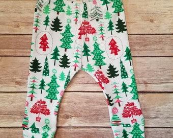 Christmas tree leggings, Christmas leggings, baby girl leggings, baby Christmas leggings, toddler Christmas leggings, holiday leggings
