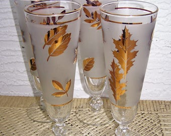 4 Pilsner Glasses, Golden Foliage, from Libby Glass