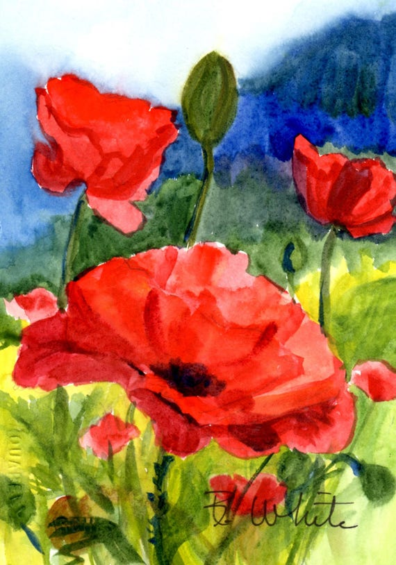 Poppies 38 - original watercolor 5x7, matted to 8x10
