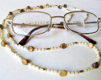"""Brown Wood & Cream Seed Beads Eye Glass Holder - Unisex Neck Strap - Spectacles Strap - Gift For Librarian - Longer 36"""" Spectacles Strap"""