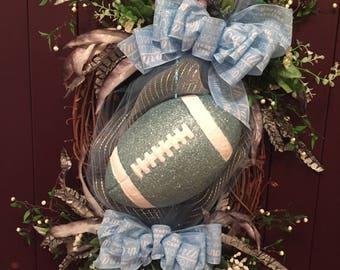 Adorable UNC Football Wreath