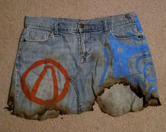 Borderlands 2 Firehawk inspired jean mini skirt Lilith the Siren Vault Hunter OOAK L/XL
