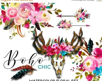 45% off 2 days Boho Watercolor Clipart Pink Blue Flowers Deer Scull Horns Antlers Arrows Clipart Floral Bouquets Wreaths Sprays DIY Wedding