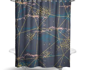 Cosmic II Shower Curtain   Boho Bathroom Decor   Outer Space   Purple U0026  Gold Shower