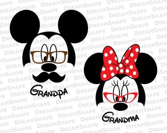 Grandpa Grandma SVG Cut Files, Grandpa Grandma DXF Cutting Files, Mickey Minnie Mouse Grandpa Grandma SVG Cuttable Files, Instant Download