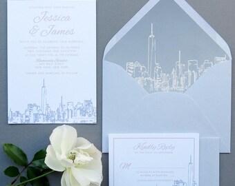 NYC Skyline Wedding Invitation Suite - Grey and Blush Pink Wedding Invitations