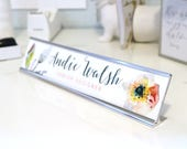 """Custom Flower Nameplate """"Andie"""" - Personalized Desk Name Plate Sign Decor - Office Accessories - Modern Office Supplies"""