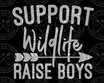 Support Wildlife Raise Boys Decal Yeti Ozark Tumbler Cup Laptop Car Decal Sticker
