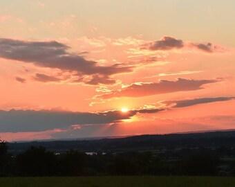 Wiltshire sunset, original photographic print